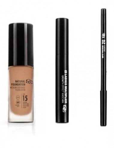 Pack Maquillaje Base Natural Foundation+ Eyeliner Negro+Máscara de pestañas +Lashes Multiplier