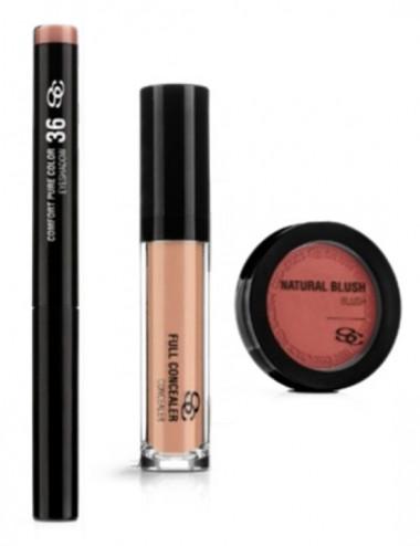 Pack Maquillaje Salerm Colorete NaturalBlus+Corrector Full+Sombra de Ojos Comfort Pure Color